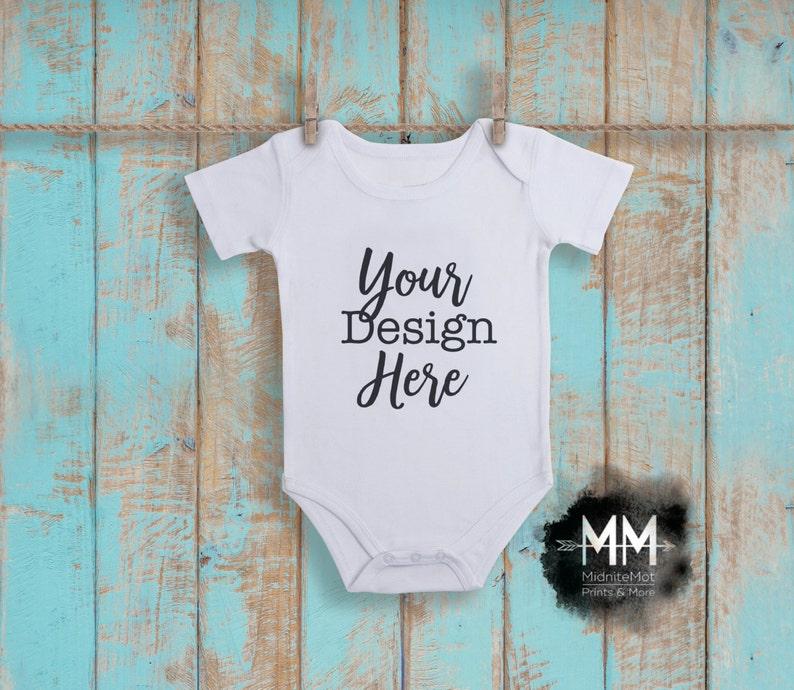 Christmas Baby Bodysuit Mockup Digital File Download Blank white short sleeve one piece