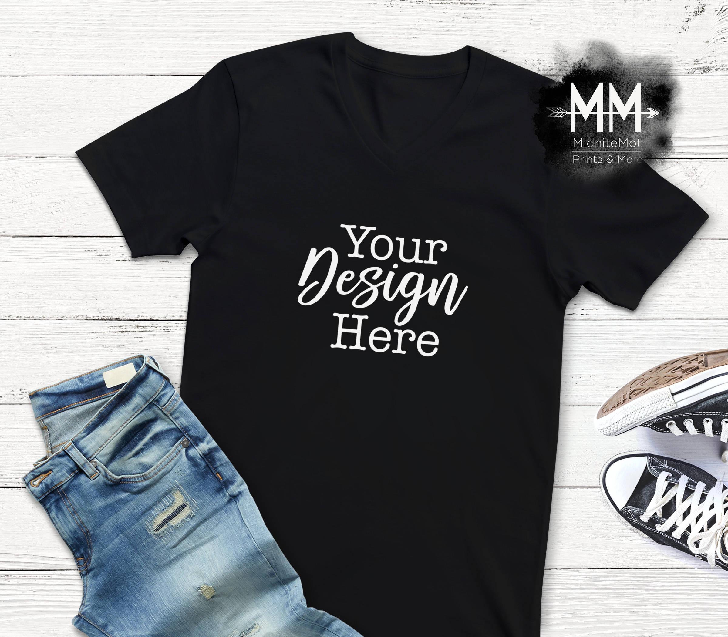V Neck Black T Shirt Mockup Black Shirt Flat Lay Display