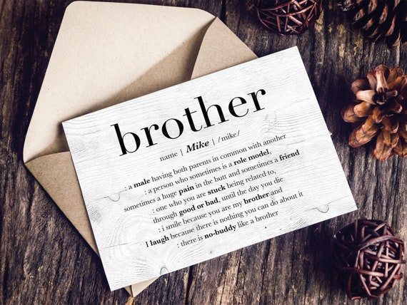 Personalized Brother Card Custom Birthday Big