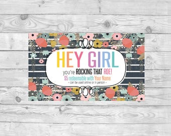 Gray Striped with Floral Caught You Roeing Card