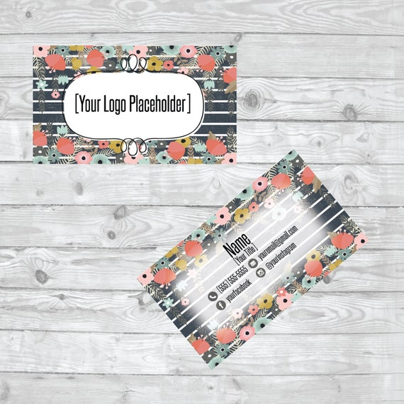 Gris Et Blanc Raye Fleuri Carte De Visite