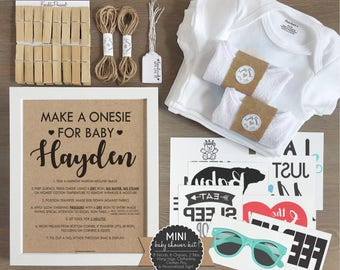 ac674a8c8 Unisex Onesie Decorating Kit/ Personalized Kraft Sign/ DIY Baby Shower Kit/  Decorating Station/ 8 Decals, 6 Onesies 2 Bibs/ Gender Neutral