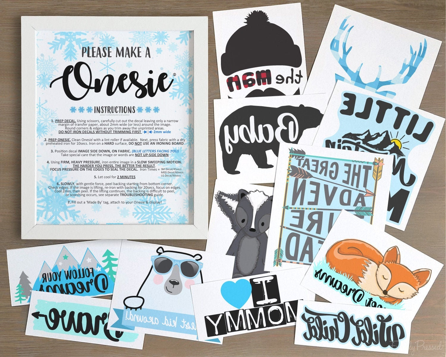 Iron-On Transfers/ Onesie® Decorating Decals with Generic or Personalized  Sign/ Blue Winter Wonderland Baby Shower / 12, 18, 24 or 30 Packs