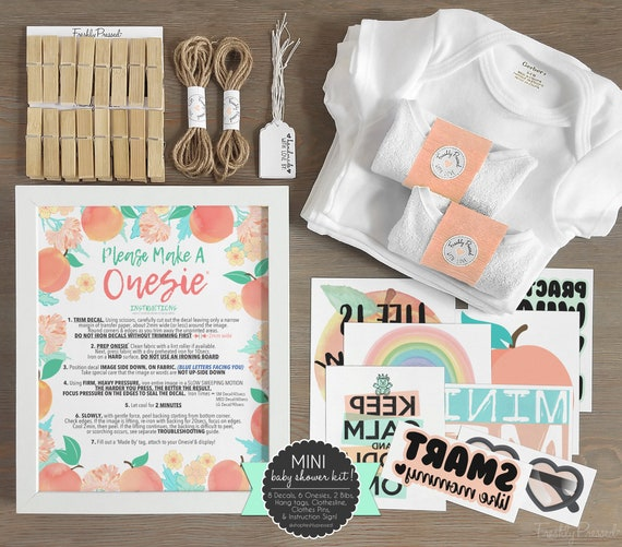Peach And Mint Baby Shower Kit Onesie Decorating Sign Onesie Station 8 Decals 6 Onesies 2 Bibs More Decorating Station Diy Mini Kit