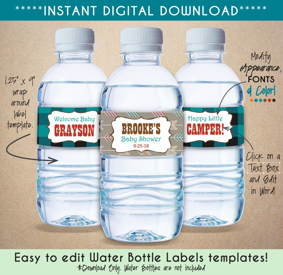 Printable Woodland Creatures Water Bottle Labels Personalize Etsy