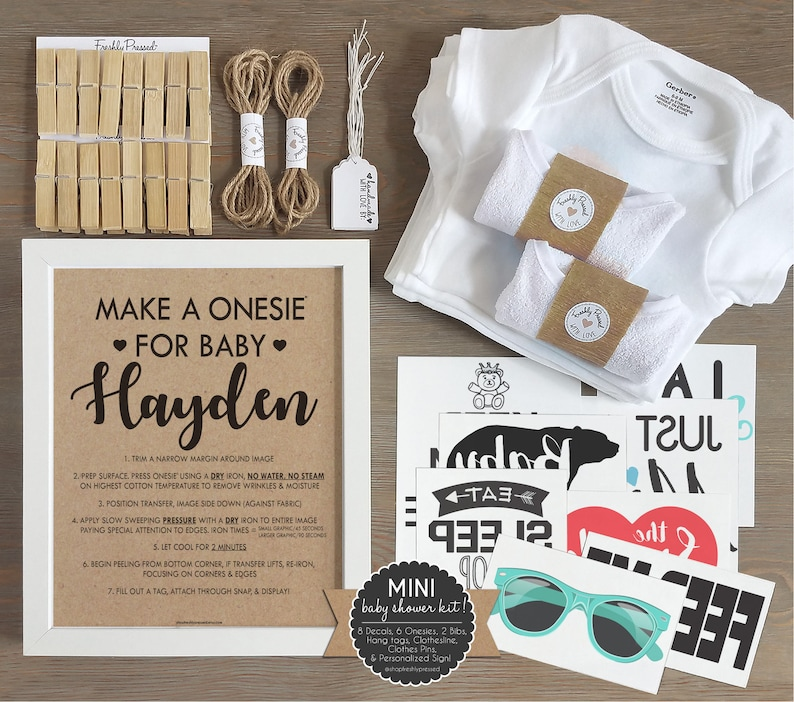 d5abf1634 Unisex Onesie Decorating Kit  Personalized Kraft Sign  DIY