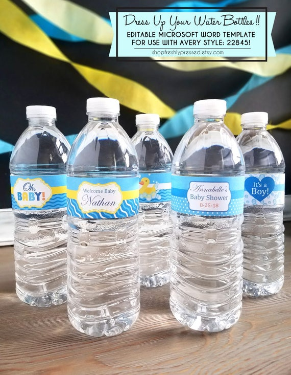 Printable Rubber Ducky Water Bottle Labels Personalize Customize