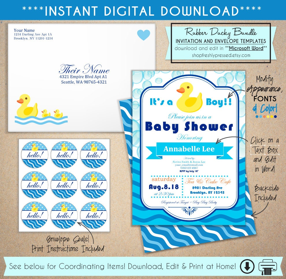 Printable Rubber Ducky Baby Shower Invitations Easy To Edit Etsy