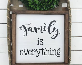 """Family Is Everything Wood Sign With Frame (12""""x12"""")"""