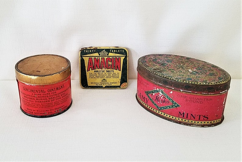 3 Collectible Vintage Tins - Continental Ointment, Anacin And Woolco Mints  - Vintage Advertising