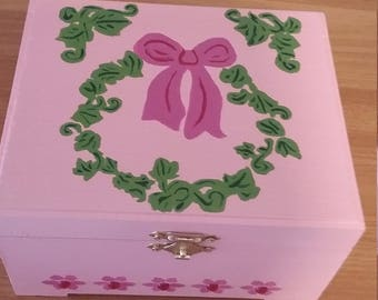 Pink Hand Painted Jewelry Box