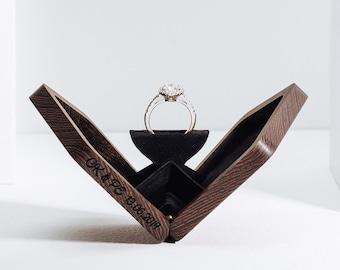 Thin rotating engagement ring box, ring box, anniversary gift, wooden ring box, valentine's gift, proposal box, Wenge Pentagon, Woodsbury