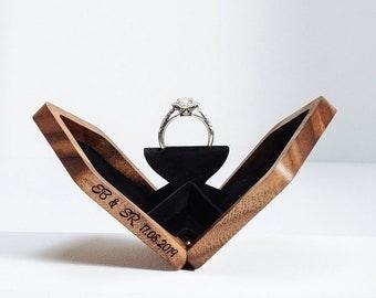 Thin rotating engagement ring box, ring box, anniversary gift, wooden ring box, valentine's gift, proposal box, Walnut Pentagon, Woodsbury