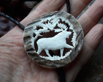 Antiqued Silver Tone Moose Charm Bolo Tie Western Style Necktie Moose Charm on Natural Birch Wood Disk Bootlace Necktie