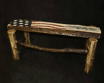 Rust Flag Bench or Coffee Table