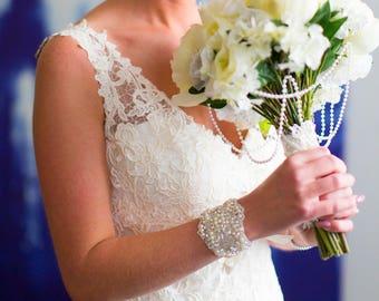 Katy | Wedding cuff, bridal cuff, pearl bracelet, crystal beaded cuff, embellished bracelet, beaded bridal bracelet, vintage style bracelet