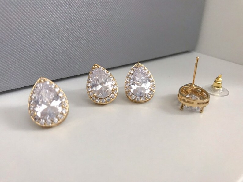 wedding necklace cz gold necklace wedding necklace for bride gold teardrop necklace Gold wedding necklace bridal necklace MORGAN