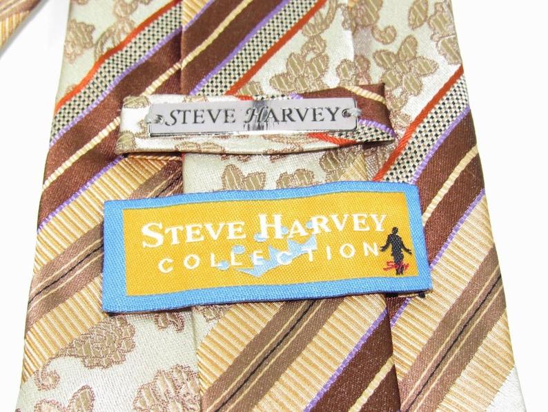Mens Vintage Silk Neck Tie Brown Taupe Gold Floral Stripes by Steve Harvey Collection Necktie circa 2001