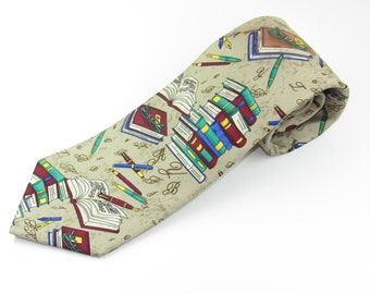 Mens Silk Neck Tie By Alynn Neckwear Entitled Well Read books and Pens
