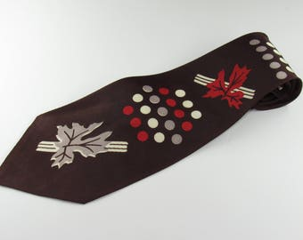 Vintage Mens Swing Neck Tie  Circa 1960'sby Pennleigh Art Deco Brown Red Taupe White Leaves and Dots