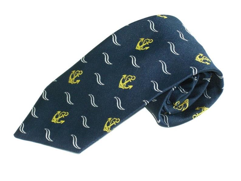 Vintage Mens Novelty Neck Tie Dublin Port Anchors and Waves  Circa 1970 Necktie