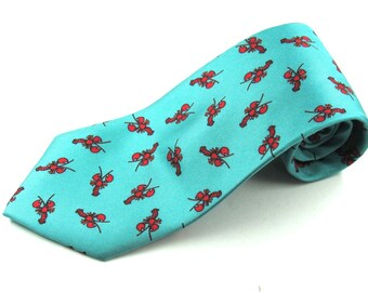 Mens Silk Neck Tie By Alynn Neck Wear Featuring A Teal Background and Red Lobsters