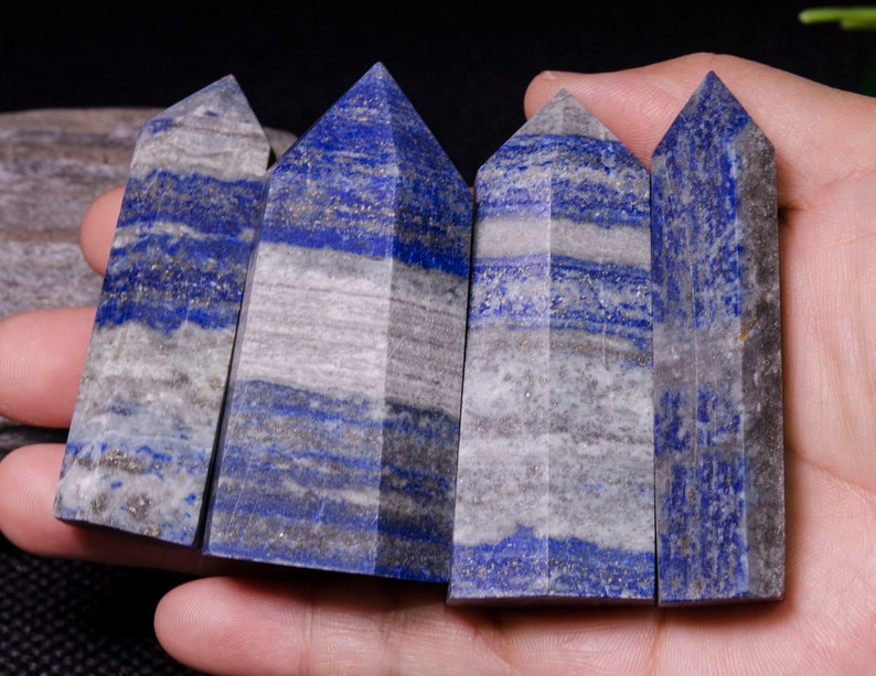 4Pcs Natural Lapis Lazuli Crystal TowerLapis Lazuli PointEnergy stoneDecorCrystal GridreikiChakraSpecial GiftBlue StoneBlue Crystal