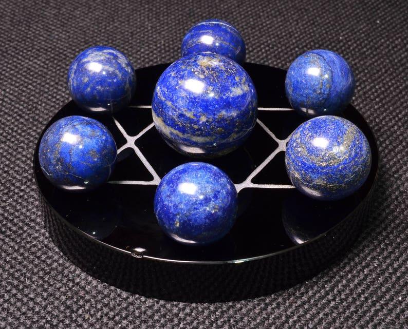 Natural Seven Lapis lazuli Quartz Sphere Set with Obsidian BaseFlower of Life Sacred GeometryMeditationLuck stoneFeng shui-1set-384g