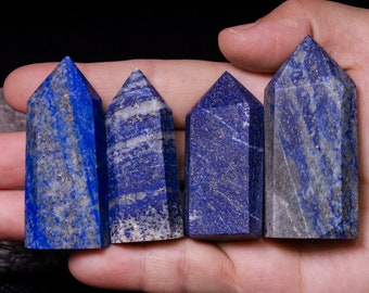 4Pcs Natural Lapis Lazuli Crystal Tower/Lapis Lazuli Point/Energy stone/Decor/Crystal Grid/reiki/Chakra/Special Gift/Blue Stone/Blue Crystal