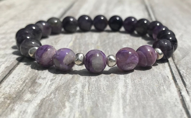 Natural Amethyst Jewelry Amethyst Bead Bracelet Deep Purple Lavender February Birthstone Jewelry Purple Bead Bracelet Amethyst Bracelet
