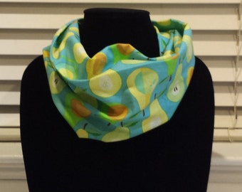 Pears on Blue Infinity Scarf