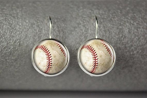 Game Day Earrings Vintage Baseball Earrings Sport Earrings Baseball Mom I Love Baseball Baseball Gift Small Earrings Baseball Jewelry
