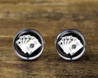 Poker cufflinks, Playing Cards cufflinks, Poker jewelry