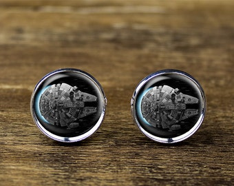 Millennium Falcon cufflinks, Star Wars cufflinks, Millennium Falcon jewelry, Millenium Falcon Cufflinks