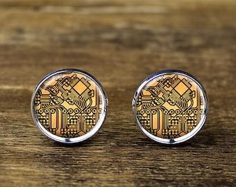 Circuit Board cufflinks, Circuit cufflinks, Circuit Board jewelry