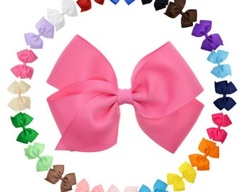 Symbol Of The Brand Handmade 4 Inch Hair Clip Bow Blue Red Green Stripes Kids' Clothes, Shoes & Accs.