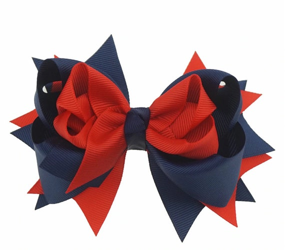 """Lot of 23 5/"""" Korkers Hair Bows Red White and Royal"""