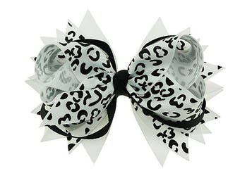"5"" Hair Bow, Girls Hair Bows, Black & White Animal Print Bows, Toddlers Hair Bows,  Leopard Print Hair Bow, Boutique Hair Bows, Toddler Bows"