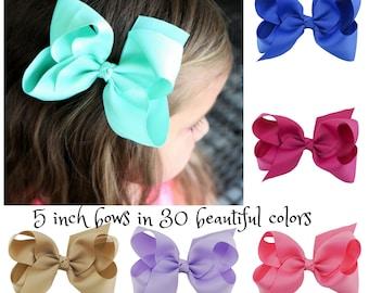 """5"""" Hair Bows, Choose Your Colors, Toddler Hair Bows, Girls Hair Bows, Grosgrain Ribbon Hair Bows, 5 inch Hair Bows, Hair Clip, Toddlers Bows"""