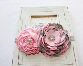 Girls Gray & Pink Headband, Girls Gray Headband, Floral Crown, Girls Photo Prop, Pink  Gray Headband,Toddler Headband, Babys Lilac Headband