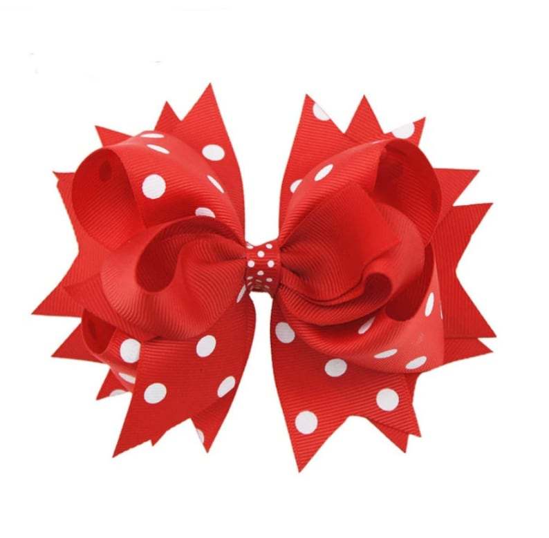 Red and White Hair Bow Boutique Hair Bows Girls Hair Bow Red and White Polka Dot Hair Bow 5.5 Hair Bows Stacked Hair Bow Red Hair Bow