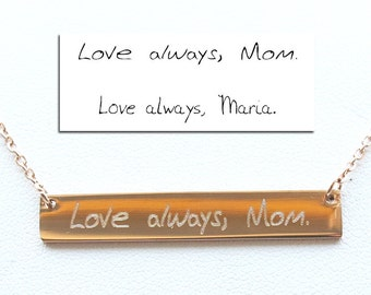 Handwriting jewelry,Handwriting Bar Necklace,Actual Signature Jewelry,Personalized Jewelry,Memorial Gift-Mother's day gift