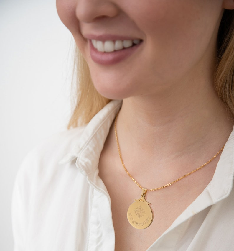 Personalized Coordinates Disc Necklace Coordinates Necklace Compass Necklace GPS Location Necklace