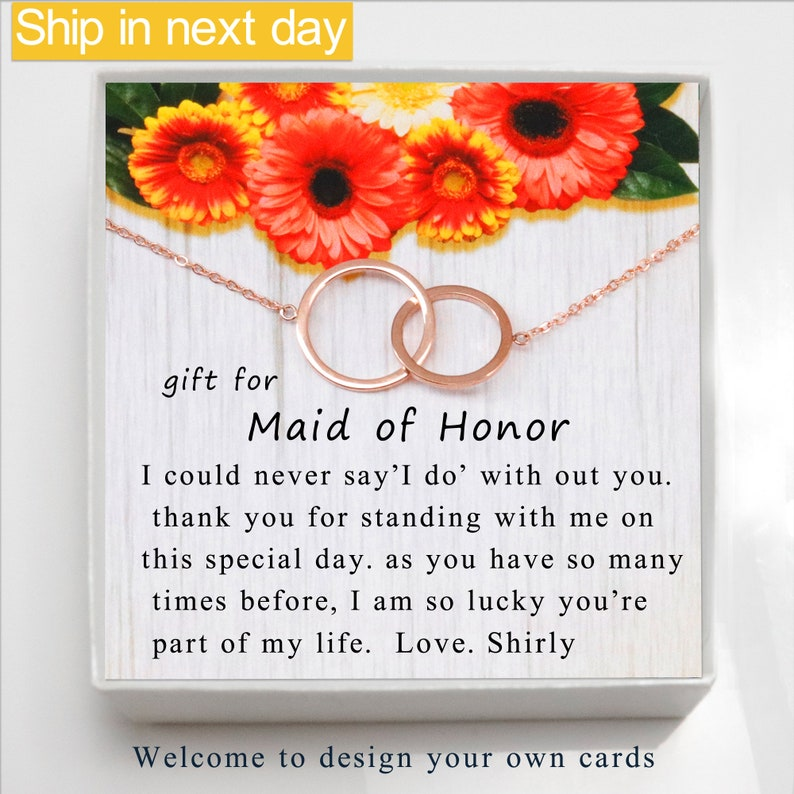 for Bridesmaid,Wedding Gift with Message Card Maid of Honor Gift Proposal gift Thank You Gift Matron of Honor