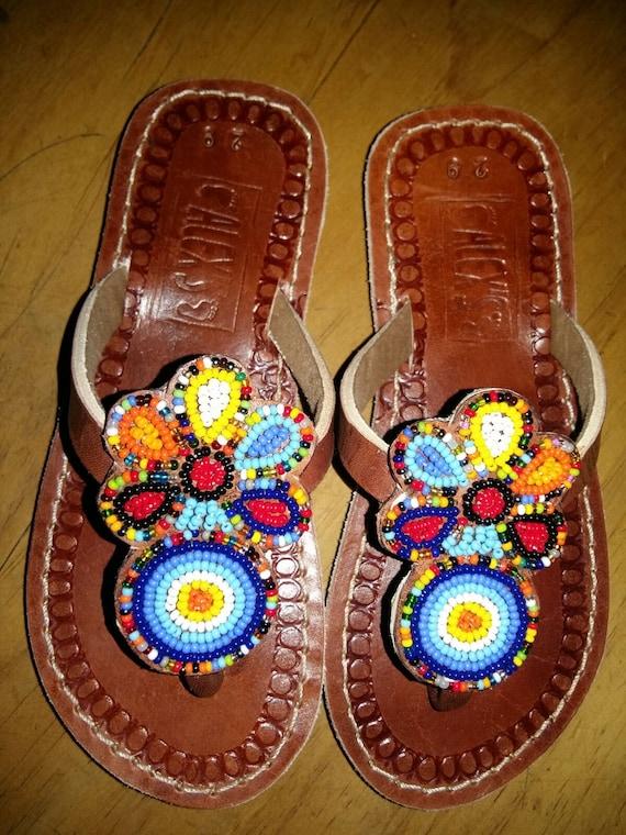 girls sandals children sandals beaded sandals maasai sandals leather sandals
