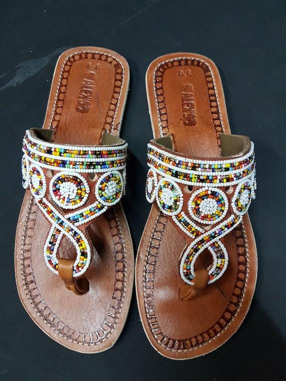 7499cb1a61c2 Maasai sandals   beaded sandals   colourful sandals   kenyan