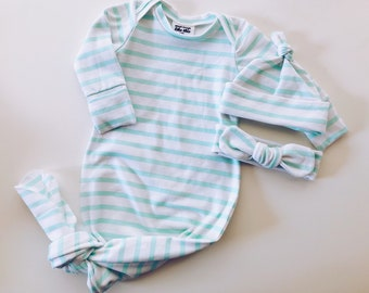 9dacc4610e2 Knotted baby gown set hat or headband outfit