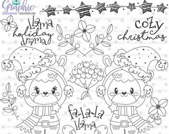 christmas stamps llama stamps alpaca stamps commercial use christmas digistamp llama digital stamps christmas coloring pages alpaca