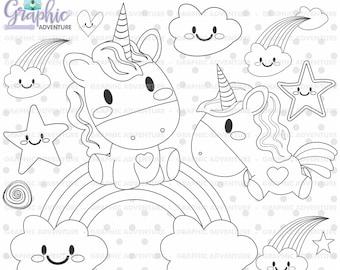 Unicorn Stamp Birthday Stamp Commercial Use Digi Stamp Etsy
