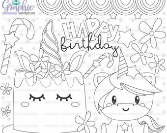 Unicorn Stamp Birthday COMMERCIAL USE Digi Digital Image Party Digistamp Coloring Page Clipart
